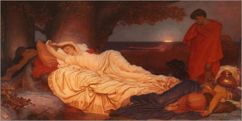 Reproduction sur toile 120 x 60 cm: Cymon and Iphigenia de Frederic Leighton - Reproduction prête à accrocher, toile sur châssis, image sur toile véritable prête à accrocher, reproduction sur to...