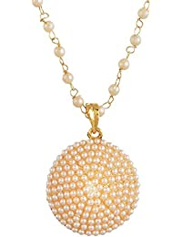 Zeneme Pearl Engraved Gold Plated Girls Fashion Party Wear Pendant Set / Necklace Set With Earrings For Girls...