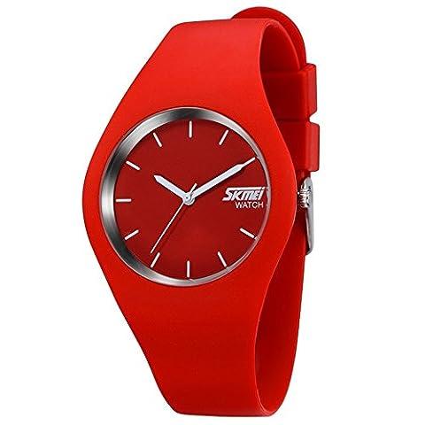 TONSHEN Montres Femmes Analogique Quartz Rouge Silicone Bracelet Mode Classique Simple Design Décontractée Montre Femme