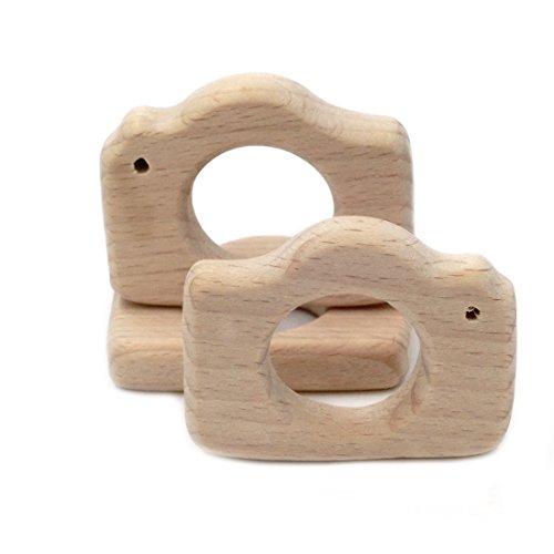 Coskiss 3pcs Bebé Mordedor respetuoso del medio ambiente de enfermería Montessori Orgánica Juguetes para niños cortados a mano de madera de la cámara de fotos colgante Mini dentición Mordedor de bricolaje