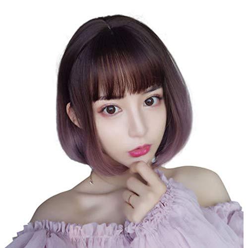 Perücke, weibliches kurzes Haar rundes Gesicht Gradient Schnalle niedliche Schlüsselbein Haare kurze lockige ()
