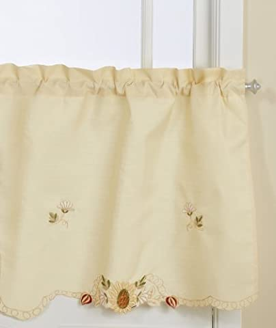 Lorraine Home Fashions Sunflower Tier Curtain Pair, 60 by 36-Inch, Multi-Color