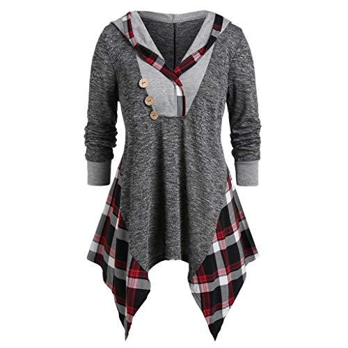 GOKOMO Frauen Plus Größen-mit Kapuze asymmetrisches T-Stück geknöpftes Plaid-Druck-langes Hülsen-T-Shirt(A,X-Large) -