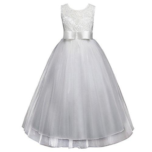 mer Ärmelloses Stickerei Mädchen Prinzessin Kleid(Weiß,130) (Ungewöhnliche Kind Halloween Kostüme)