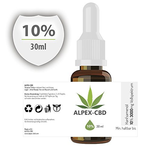 Hemp&More ALPEX-CBD Öl mit 10 Prozent (30ml - 3000 mg), Naturbelassene Terpene Tinktur | Gutes Aroma (D3 Vitamin 3000)