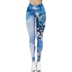 Yusealia Pantalones Yoga Mujeres Mallas Deportivas Mujer Cintura Alta Estampado de Estrellas Leggings Mujer Cráneo Impresión 3D Deporte Pantalones Fitness Mujer Gym EláSticos para Running