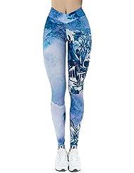 Leggins Mujer Fitness Yoga Pantalones Halloween CráNeo De ImpresióN PantalóN EláStico del Cráneo Cintura Alto Pantalones