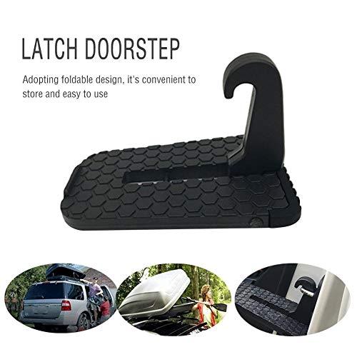 Preisvergleich Produktbild thorityau Rutschfeste,  klappbare Autotürstufe,  Klappleiter,  Klinkentürstufe mit Sicherheitshammerfunktion für einfachen Zugang zum Autodach,  schwarz