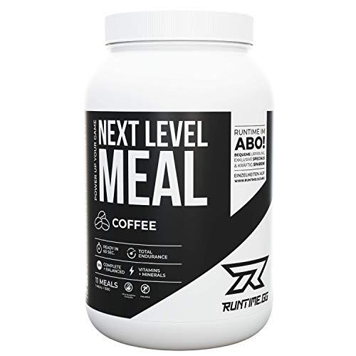 Runtime Next Level Meal Coffee - vollwertiger Nahrungsersatz, Sättigung (5-6 Stunden), Energie und Leistungsfähigkeit, mit Vitaminen und Nährstoffen und Aminosäuren, 1,65kg - 11 Mahlzeiten