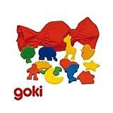 Goki - Jeu de Mémo tactile des formes en bois Jeu mémorisation 3 ans +