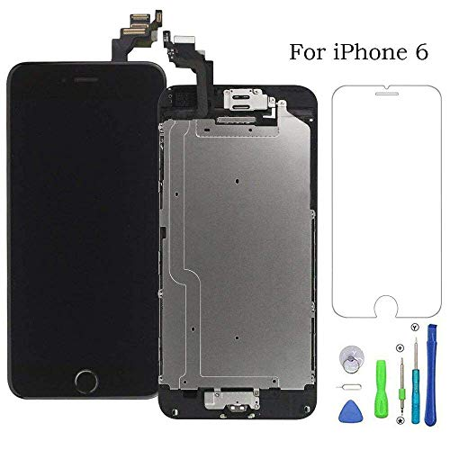 Ecran LCD Vitre Tactile Complet sur Châssis pour iPhone 6 Noir avec Outils Bouton Home Écouteur Interne Caméra De Face Tout Assemblé