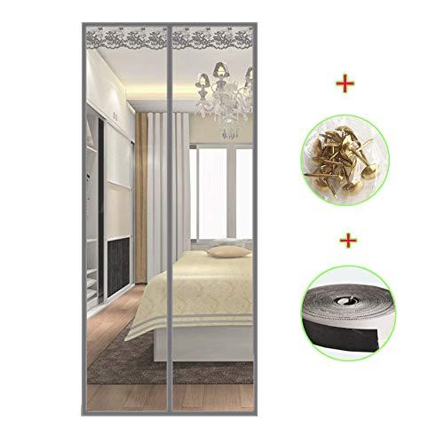 Tenda zanzariera magnetica finestra 80x200~140x220 cm per porta con calamita moschiera per porte di soggiorno camera da letto casa,gray,95x200cm(37x79inch)