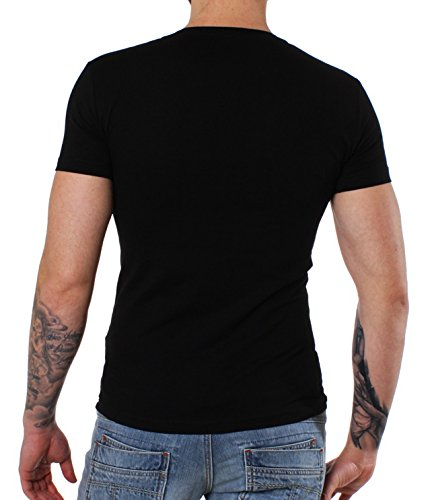 Young & Rich Party Herren BASIC T-Shirt 1315 tiefer V-Ausschnitt Schwarz