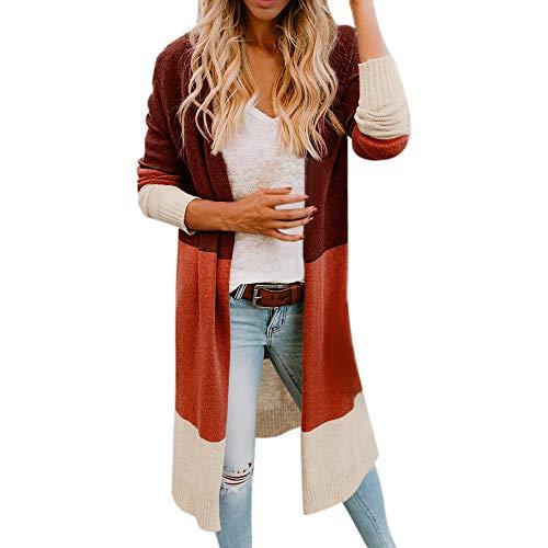 Damen Bunt Striped Langarmshirt Strickjacke Kimono Cardigan Cover Up Patchwork Outwear MYMYG Farbverlauf Bunte Langarm Blusen Tuniken...