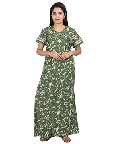 NIGHTY HOUSE Womens Cotton Full Length Full Open Nightgown - Front Full Button (3XL, Green)