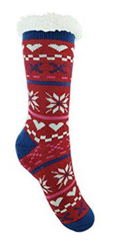 Ladies Co-Zees Chunky Thermal Fluffy Fleece Lined Fair Isle Heart Slipper Socks - Red & Blue