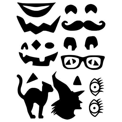Crafty Vinyl 4Mix N 'Match Kürbis Gesicht Vinyl Aufkleber & 2Silhouette Aufkleber-Kürbis Gesicht Aufkleber, Kürbis Gesicht Vinyl, Fall Decor, Halloween Kunst, 5x 7