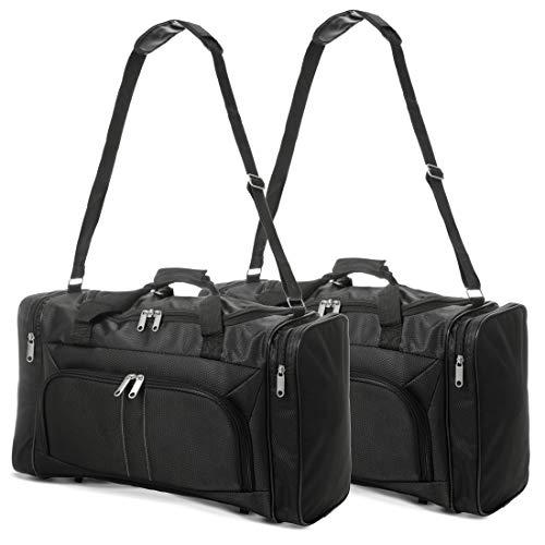 EONO Essentials Leichtes Handgepäck Kabinengepäck Boardgepäck Große Sporttasche Tragetasche Reisetasche, Set 2, schwarz