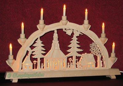 Schwibbogen klein innenbeleuchtet Seiffener Kirche von Erzgebirgsstuebchen