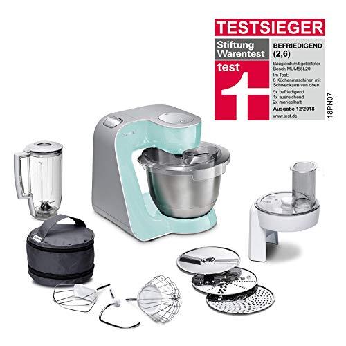 Bosch MUM58020 CreationLine Küchenmaschine (vielseitig einsetzbar, große Edelstahl-Schüssel (3,9 l), Mixer, Durchlaufschnitzler, 1000 W) türkis/silber