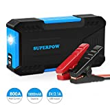 Superpow D12 - Arrancador de Coche 800A,Jump Starter 18000mAh para Coches Hasta 6.5L Gas o 5.2L Diesel, 12V Batería (Pantalla LCD, Doble USB Salidas, LED, Cable de Pinzas Inteligentes con Múltiples Protecciones)