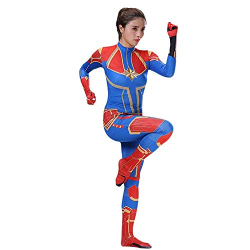Überraschung Kapitän Cosplay Kostüm Weibliche Erwachsene Elastic Bodysuit Engen Film Bühnenkostüm Requisiten Cosplay Kostüme (Color : Blue, Size : L) (Blue Skin Suit Kostüm)