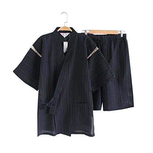 Herren Kimono Jinbei Shirt und Hose japanische Loungewear/Spa Bademantel (kurz) - B Kimono Hose