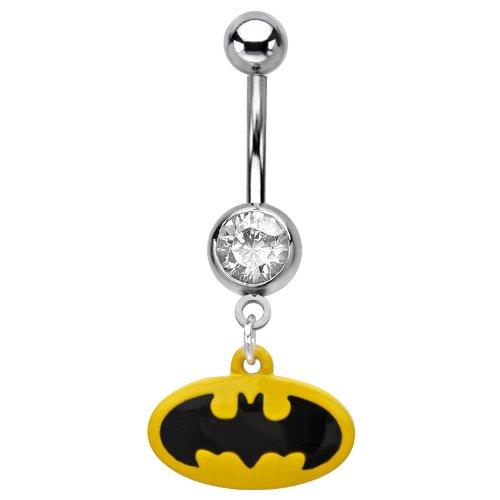 Batman-Gioiello per piercing all'ombelico senza & modificati Body Jewellery-Piercing ad anello di pipistrello, prodotto ufficiale.