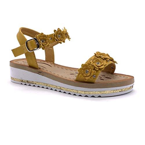 Angkorly - Scarpe Moda Sandali con Cinturino alla Caviglia Comfortable Comodo maneggevole Donna Fiori Strass Glitter Tacco Zeppa 4 CM - Ingiallimento JN303 T 37