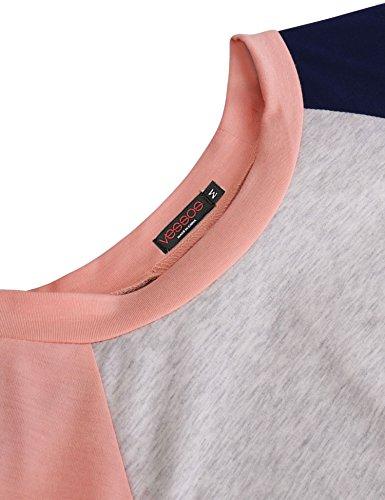 Vessos Damen Langarm Tunika Tops Knit Button Crew Neck Bluse T-Shirt Pullover Muster 8