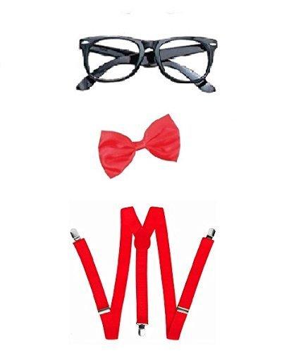 Nerd Fliege und Brille, (Kostüme Für Erwachsene Nerd)