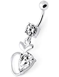 Piercing India Clear CZ Stone Apple Heart Dangling Design 925 Sterling Silver Belly Ring Body Jewelry