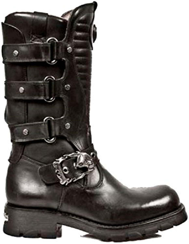 New Rock Black Leder Stiefel mit Riemen und einem SchScarondel GYumlrtelschnalle und gerippte Zunge