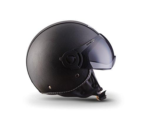 Moto Helmets H44 Leather Black · Cruiser Bobber Vintage Vespa-Helm Biker Chopper Retro Mofa Moto Helmetsrrad-Helm Jet-Helm Helmet Pilot Scooter-Helm Roller-Helm · ECE zertifiziert · inkl. Sonnenvisier · inkl. Stofftragetasche · Grau · XL (61-62cm) - 3