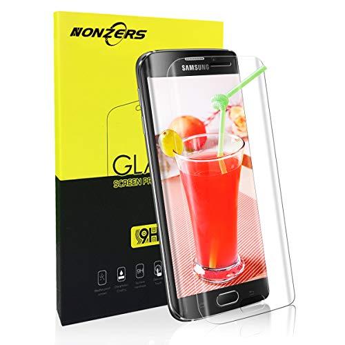 NONZERS Verre Trempé pour Samsung Galaxy S6 Edge, [3D Couverture Complèt] Film Protection d'Écran en Verre Trempé Transparent, 3D Tactile Compatible et 9H Dureté, Facile à Installer sans Bulles