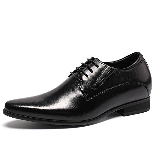 CHAMARIPA Herren Schwarz Leder Oxford Schuhe Schnürhalbschuhe,8 cm erhöhen - H62D11K011D (44) (Schuhe Leder Italien)