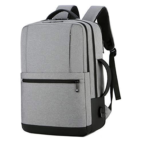 JHHXW Rucksack Große Kapazität Erweiterbar Reiserucksack USB Multifunktionale wasserdichte Business Männer Laptops Rucksäcke (Color : Light Gray) - Erweiterbar Aufrecht Tasche