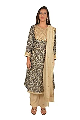 Hues by himani Women's Salwar Suit Sets (Gold, Large)