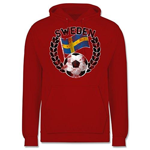 EM 2016 - Frankreich - Sweden Flagge & Fußball Vintage - Männer Premium Kapuzenpullover / Hoodie Rot