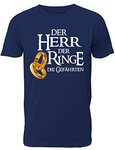 Herren T-Shirt für Den Junggesellenabschied mit Motiv der Herr der Ringe - Die Gefährten (Männer) in Navy, Größe L