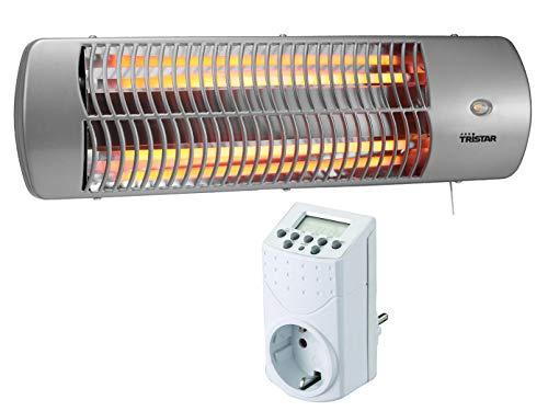 Halogen Heizstrahler + Zeitschaltuhr, für Feuchträume geeignet, bis 1200 Watt, Wickeltischheizer Badezimmerheizung
