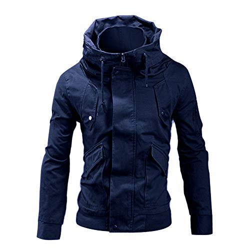 TAOtTAO Winter-Volltonfarbe dick mit Baumwolle gefütterte Baumwolle mit Kapuze Männer Winter Langarm Tasche Stehkragen Zip Outwear Jacke Mantel Plus Größe (Marine, M)