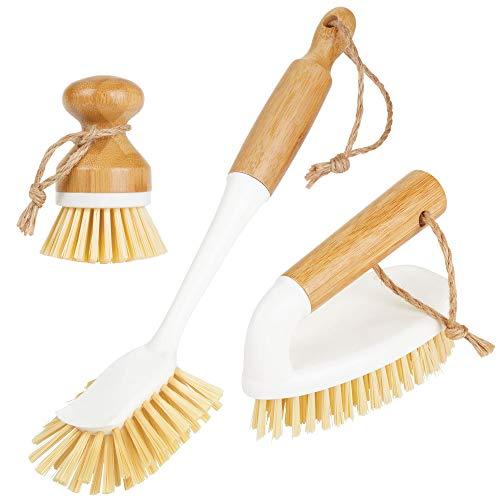 MDesign Juego 3 cepillos bambú limpieza - Cepillo