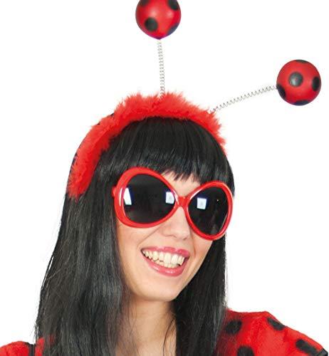 KarnevalsTeufel Zubehör-Set Marienkäfer, 2-TLG Haarreif mit Fühler und Brille, rot, schwarz, Tierkostüm, Karneval, Fasching, Mottoparty