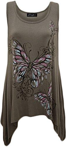 Ladies plus size farfalla Stampa Hanky orlo senza maniche lunga da Donna Top Taglia 16-26 Charcoal UK Taglia XXL