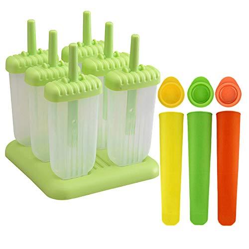 Augola Stieleisformen, 9 Stück, Silikon, BPA-frei, Form für Geleeriegel, DIY-Eiscreme, Küchenwerkzeug mit Basis und auslaufsicheren Kappen 9 Pcs Assorted Color