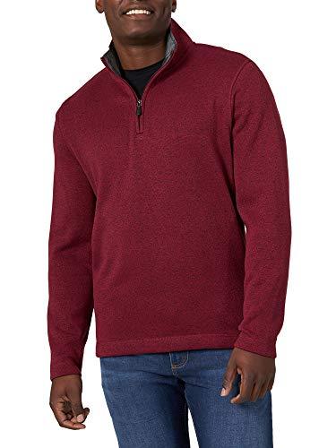 Wrangler Herren Authentics Men's Sweater Fleece Quarter-Zip Hemd, Zinfandel Heather, X-Groß (Quarter-zip Fleece)