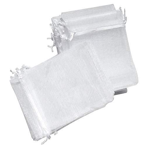 Organza Taschen - Weiß Kleine Organza Taschen Favor Hochzeit Weihnachtsgeschenk Tasche Schmuck Verpackung Taschen & Beutel 7x9 cm ()