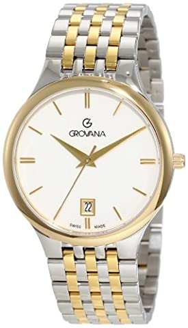 GROVANA 2013.1143 Men'schweizer Uhr Armbanduhr Analog Two Tone Stainless Steel Armband - Citizen Eco Drive Silhouette