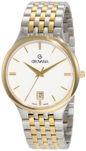 GROVANA 2013.1143 Men's Quartz Swiss Watch with White Dial Analogue Display and Two-Tone Stainless Steel Bracelet